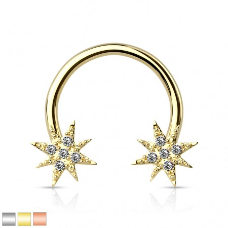 Coloured circular barbell with clear crystal paved stars