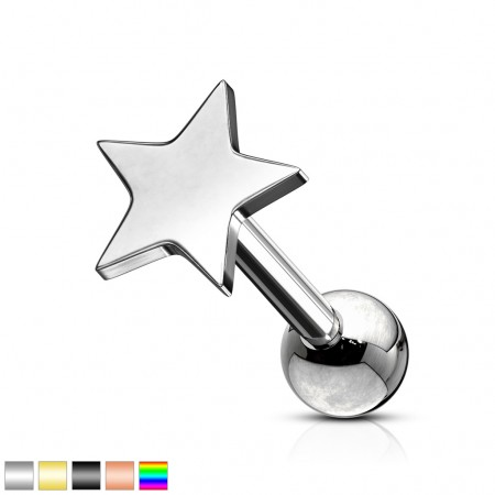 Ear cartilage piercing with star shaped top