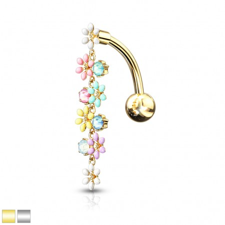 Reverse belly bar with dangling opalite and enamel flowers