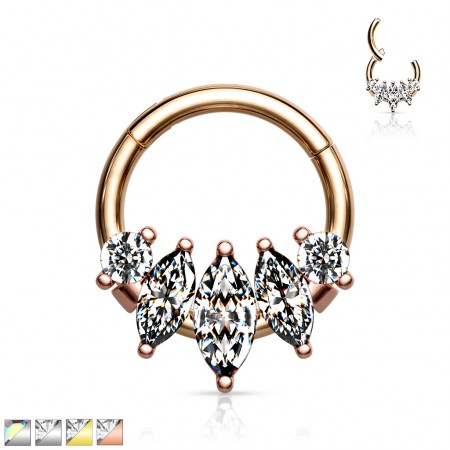 Piercing ring with attached segment and 5 marquise gems