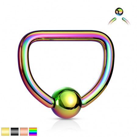 Coloured ball closure ring in D shape