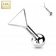 Solid Gold Push-Fit Cartilage Piercing with Flat Triangle Top