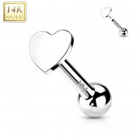 Solid Gold Push-Fit Cartilage Piercing with Flat Heart-shaped Top