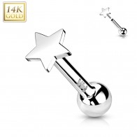 Solid Gold Push-Fit Cartilage Piercing with Flat Star-shaped Top