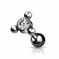 Coloured Steel Cartilage Stud with Gem Stone and 3 Beads