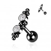 Coloured Steel Cartilage Stud with 2 Gem Stones and Beads