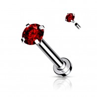Internally Threaded Labret with prong set crystal
