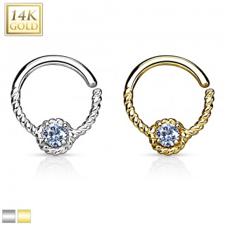 Bendable 14 Kt. gold septum ring with clear gem