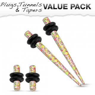 Stretch set inc. plugs with yellow orange splatter pattern