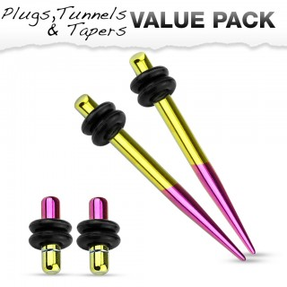 Titanium plated stretch set inc. plugs with metallic yellow and purple